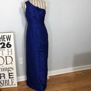 Calvin Klein blue one shoulder gown